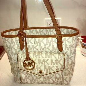 Large white & gold Michael Kors purse